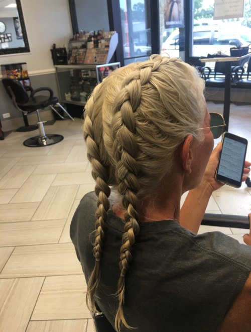 Teddy Rose Salon in Skokie, Platinum Blonde with Olaplex hairdo
