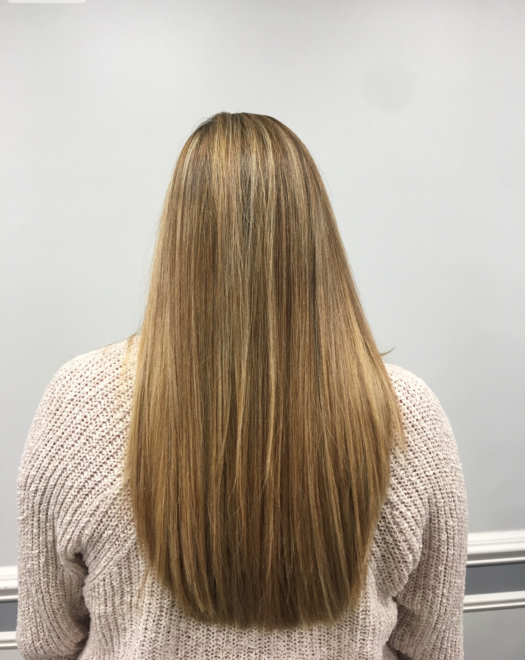 Keratin and color for thick hair at Teddy Rose Salon in Skokie